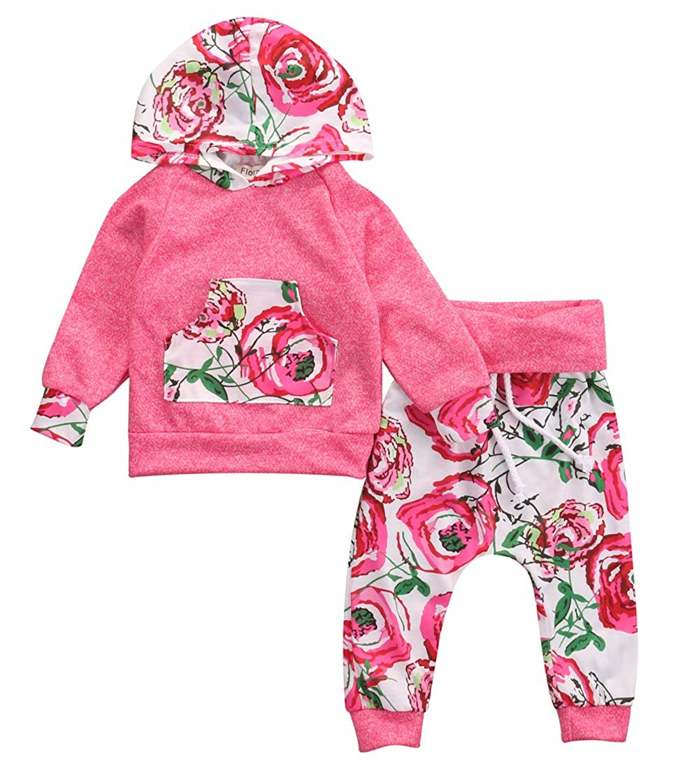 Baby Girl 2pcs Outfit Set Floral and Deer Printed Hoodies + Long Pants
