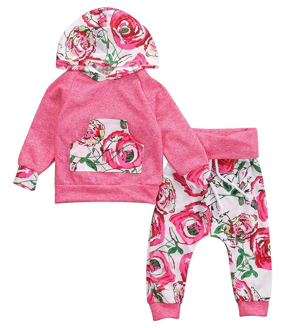 Baby Girl 2pcs Outfit Set Floral and Deer Printed Hoodies + Long Pants