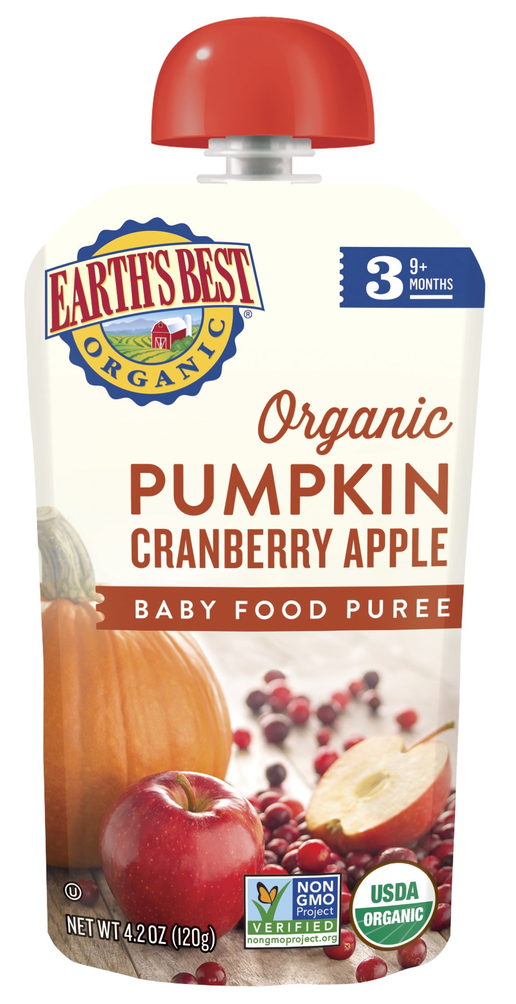 Earth's Best Organic Stage 3, Pumpkin, Cranberry & Apple, 4.2 Ounce Pouch (Pack of 12) (Packaging May Vary) by Earth's Best