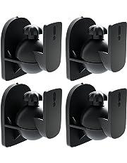 [Set 4 Piezas] deleyCON Soporte Universal para Altavoces y bafles de Grado de rotación + inclinación hasta 3,5 kg de Carga instalación en Paredes y techos - Negro