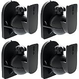 deleyCON 4x Universal Luidspreker Muurbeugel Beugel Boxen Houder Draaibaar + Kantelbaar tot 3,5 Kg Plafondmontage + Wandmontage - Zwart