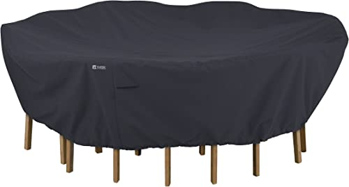 Classic Accessories Round Patio Table Chairs Set Cover, Black, Large