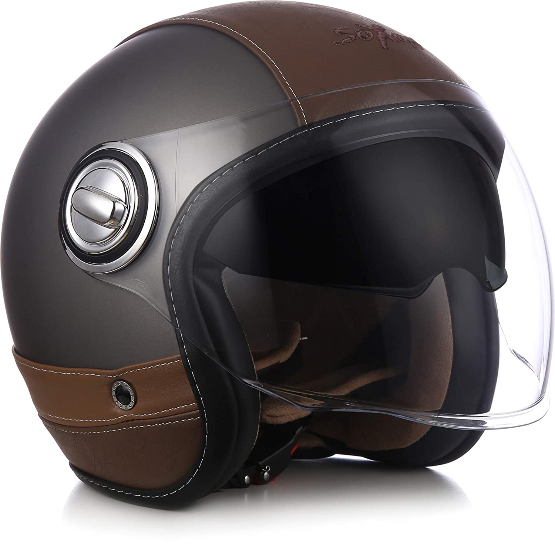 "Soxon® SP-888 Pro ""Flakes Black"" · Jet-Helm · Motorrad-Helm Bobber · ECE Sonnenvisier Leather-Design Schnellverschluss SlimShell Tasche M (57-58cm) Soxon Germany SP-888-PRO"