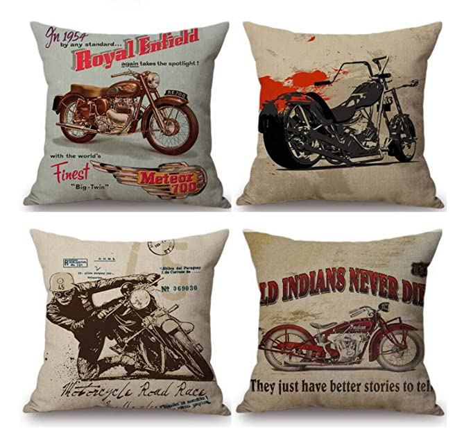 Buy Emvency Set Of 4 Linen Throw Pillow Covers 18x18 Inches Home Decorative Cushion Vintage Motorcycle Design Classic Man Biker Cool Pillow Cases Square Pillocases For Bed Sofa Online At Low Prices