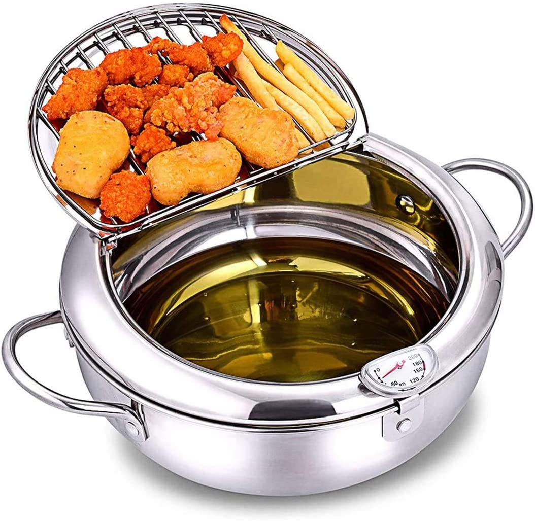 Genericb Stainless Steel Deep Fryer Pot Frying Pan with Temperature Control and Oil Drip Drainer Rack Japanese Style Tempura Frying Pot Kitchen Cookware 2200 ML
