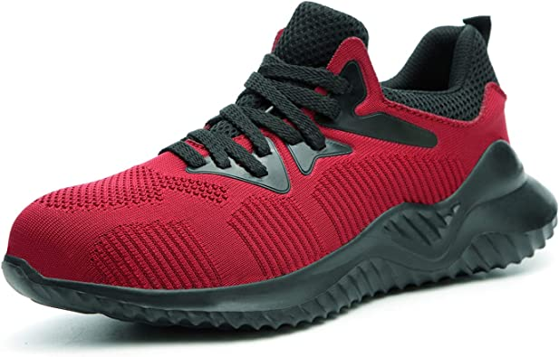 Men/'s Work Safety Shoes Steel Toe Ventilation Boots Indestructible Sneakers RED