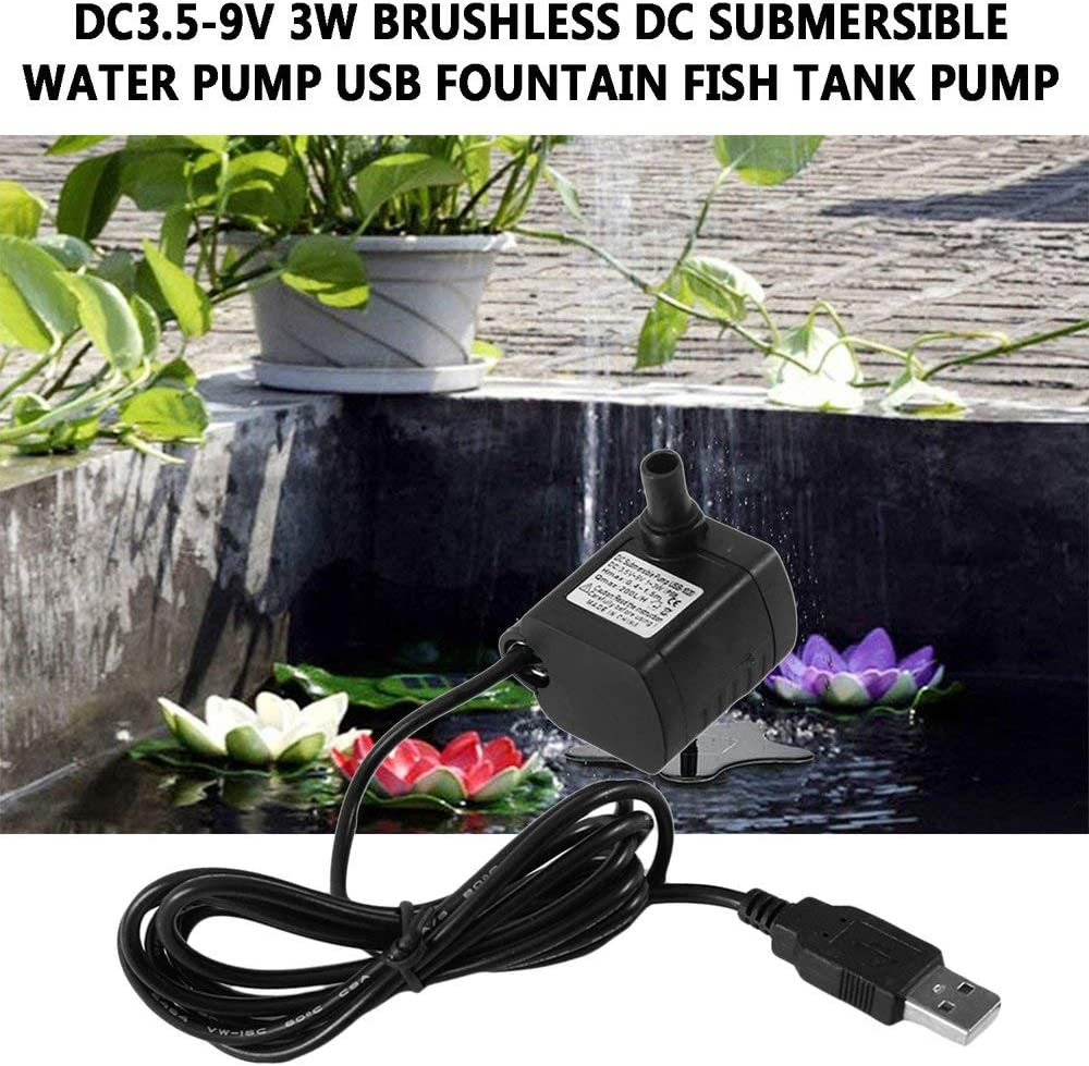 Mandalaa Dc3.5-9V 3W Brushless Dc Submersible Water Pump Shower Pump USB Mini Aquarium Landscape Fountain Fish Pond Tank Pump