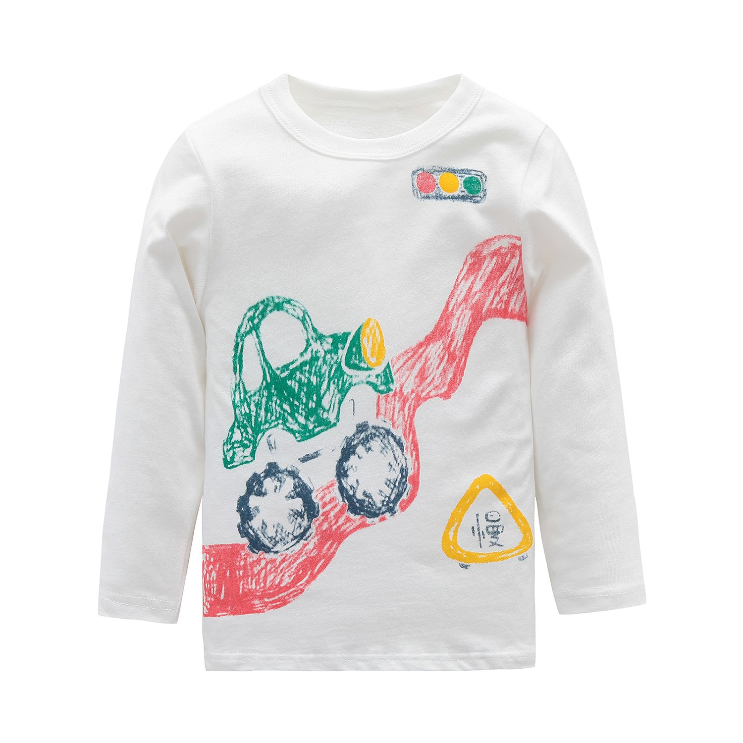 HowJoJo Boys Cotton Long Sleeve T-Shirts Cars Tops Tees White 5T
