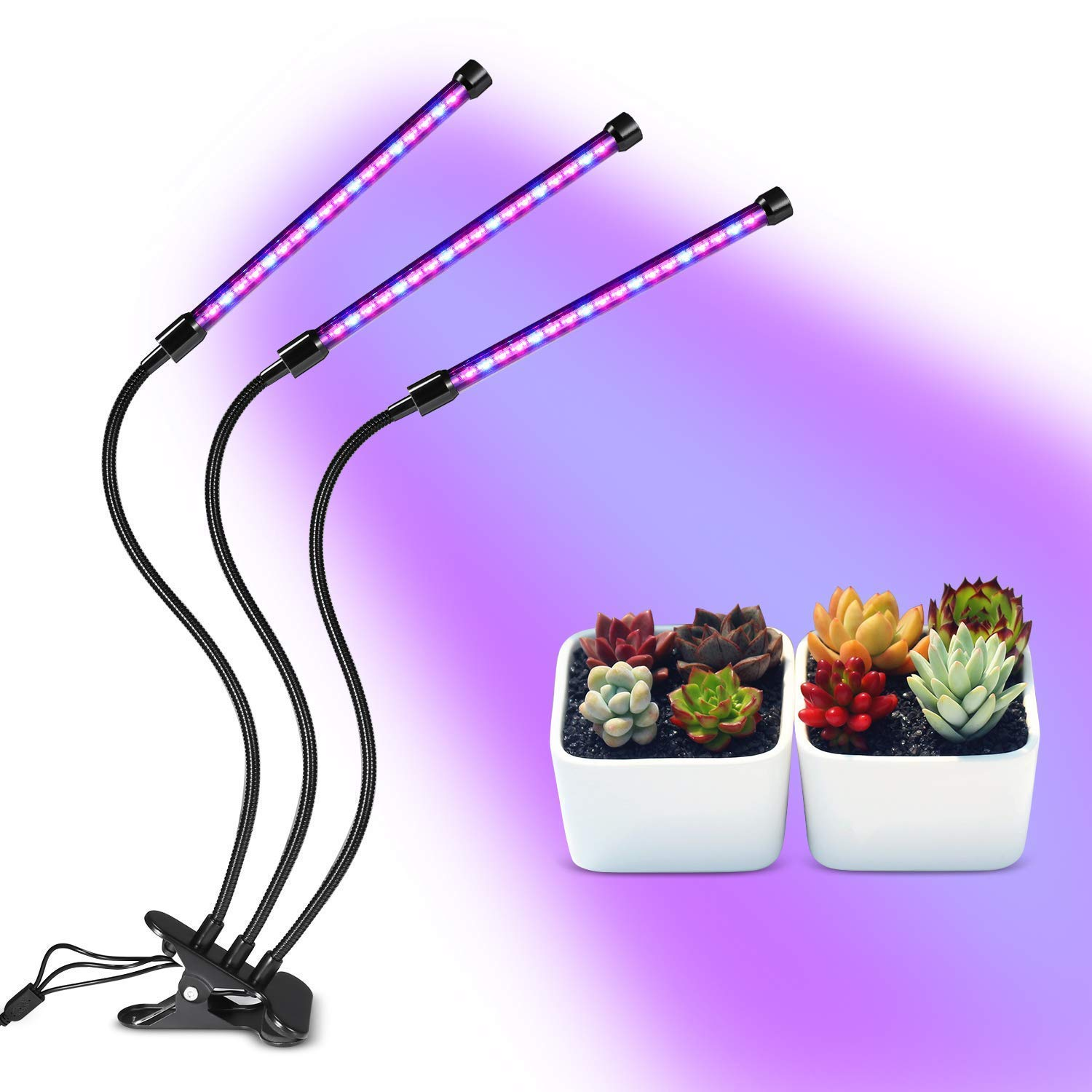 Plant Grow Light, Homeasy 27W LED Plant Grow Lamp with Auto Turn On for Indoor Plants in Winter High Power Natural Light Bulbs with Red, Blue Spectrum, 3 6 12H Timing for Indoor Gardening, Greenhouse
