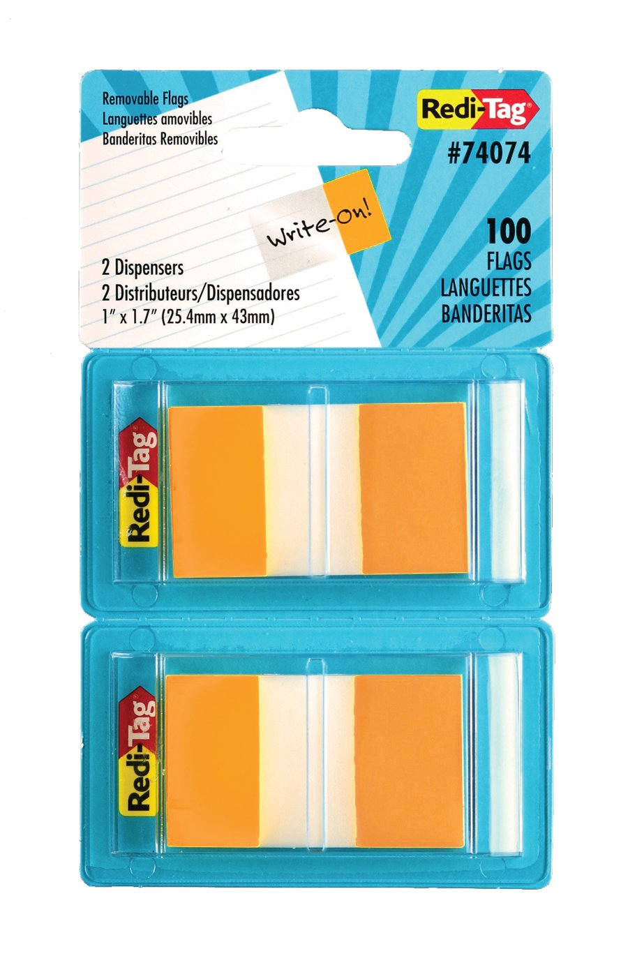 Redi-Tag Pop-Up Page Flags, 2 Dispensers per Pack, 100 Flags Total, 1 x 1.7 Inches, Orange (74074)