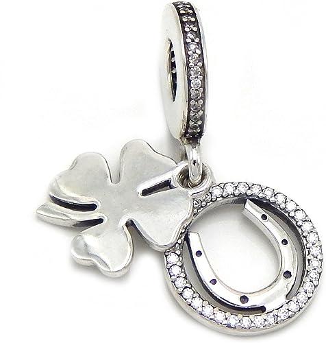 Four Leaf Clover Blue Tint Snake Chain Charm Bracelet