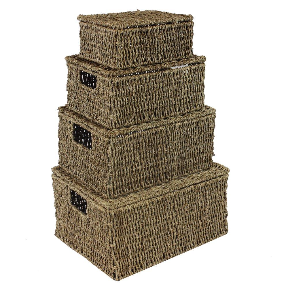 Jvl Natural Seagrass Oblong Storage Baskets Boxes Hampers