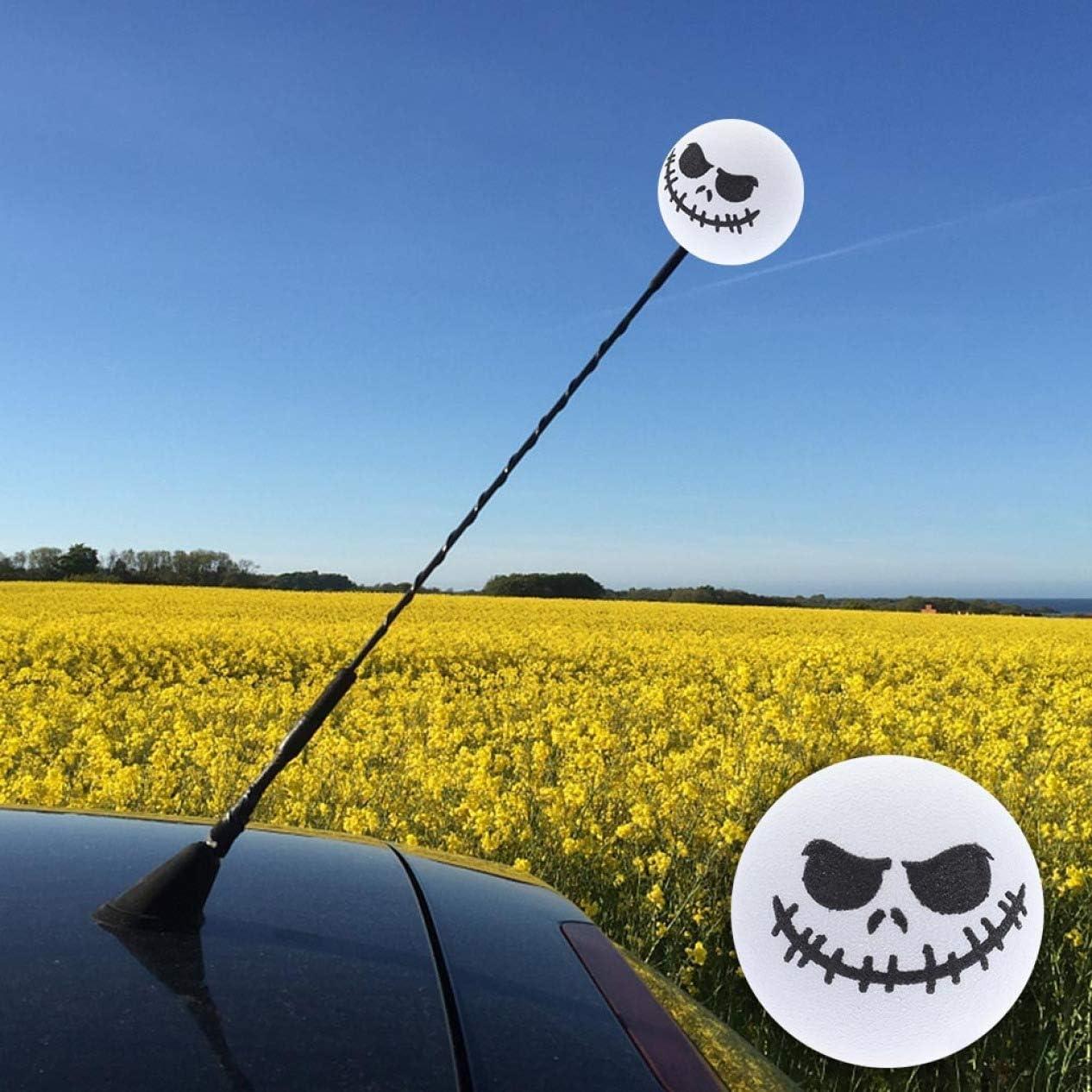 Yiweikj Bon Etat 1 PC Halloween Skull Antenne Voiture Forme Antenne Balle D/écoration Jouet Blanc WT