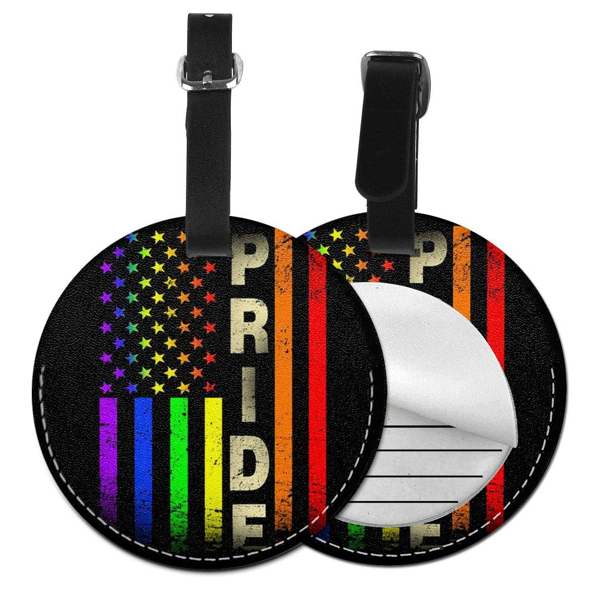 Free-2 Gay Pride Rainbow Flag Luggage Tag 3D Print Leather Travel Bag ID Card
