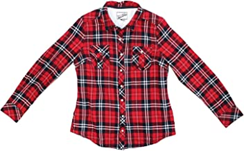 BC Clothing Womens Sherpa Lined Plaid Flannel Shirt Jacket,Red Plaid,X-Large