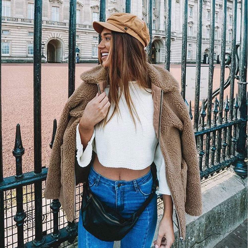 Gallity Faux Fur Coat,Womens Lapel Long Sleeve Shearling Coat Winter Pocket Faux Parka Coat