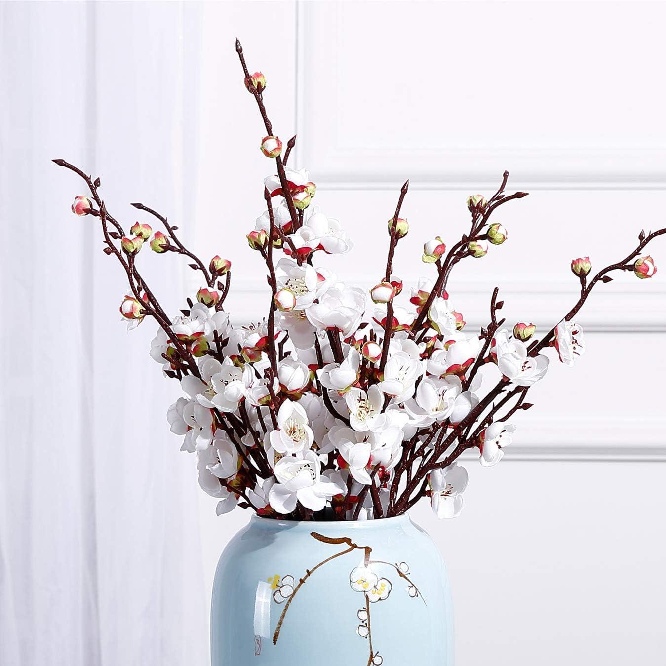 "NOLAST 10 Pcs 18.7"" Long of Plum Blossom Artificial Flowers Fake Flower for Home Wedding Office Decor (White)"