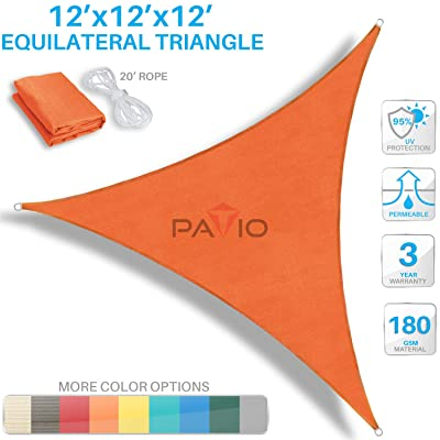 Patio Paradise Sun Shade Sail 12' x 12' x 12' Triangle Canopy in Orange UV Block Fabric-Customized Available-Set of 1 : Garden & Outdoor