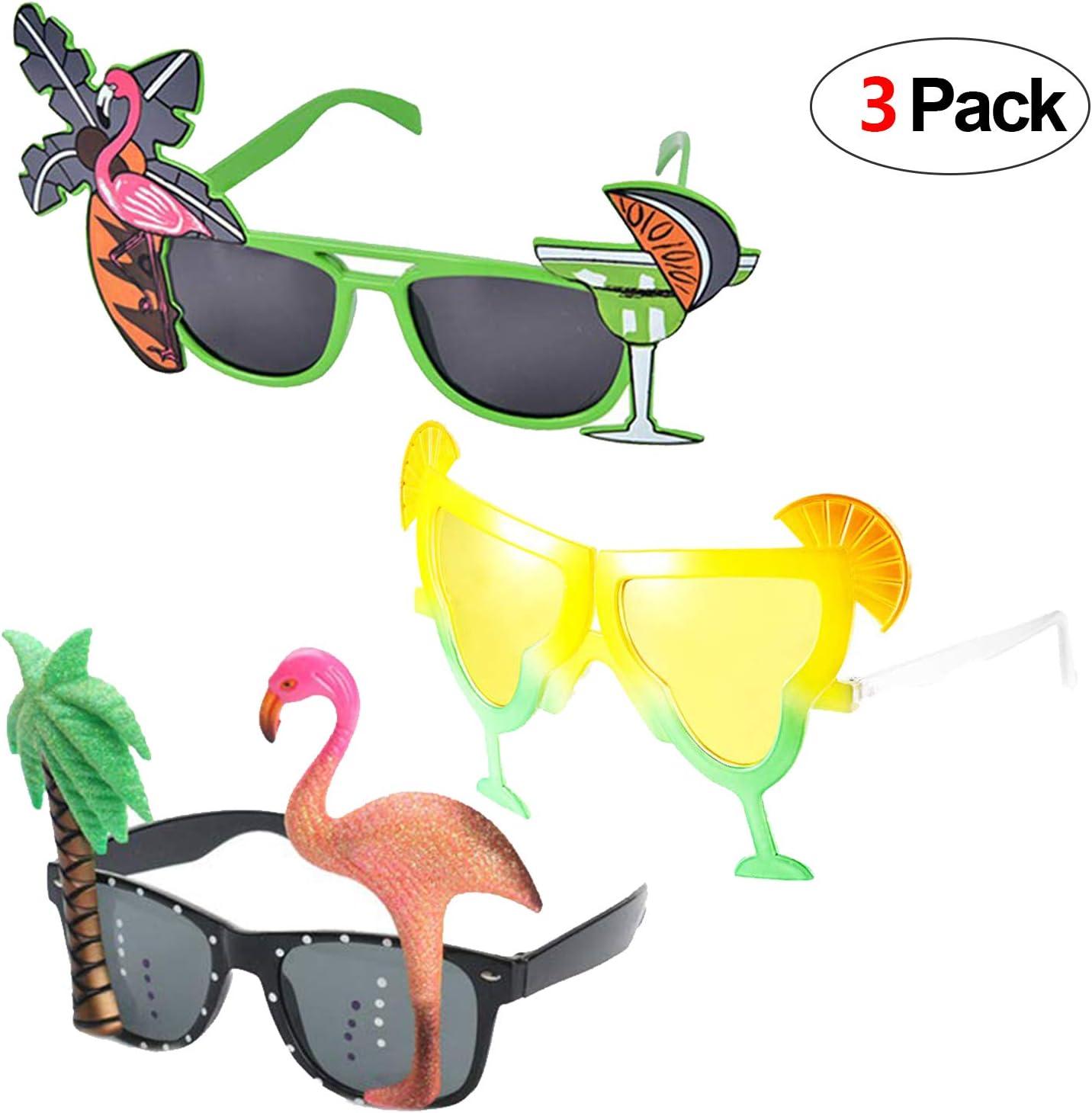 Howaf 3 Pares Divertidas Tropical Fiesta Gafas de Sol, Hawaianas ...