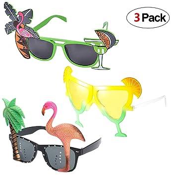 Howaf 3 Pares Divertidas Tropical Fiesta Gafas de Sol, Hawaianas Fiesta Gafas Máscaras para Verano Luau Piscina Playa Fiesta Accesorios, Boda, Fiesta ...
