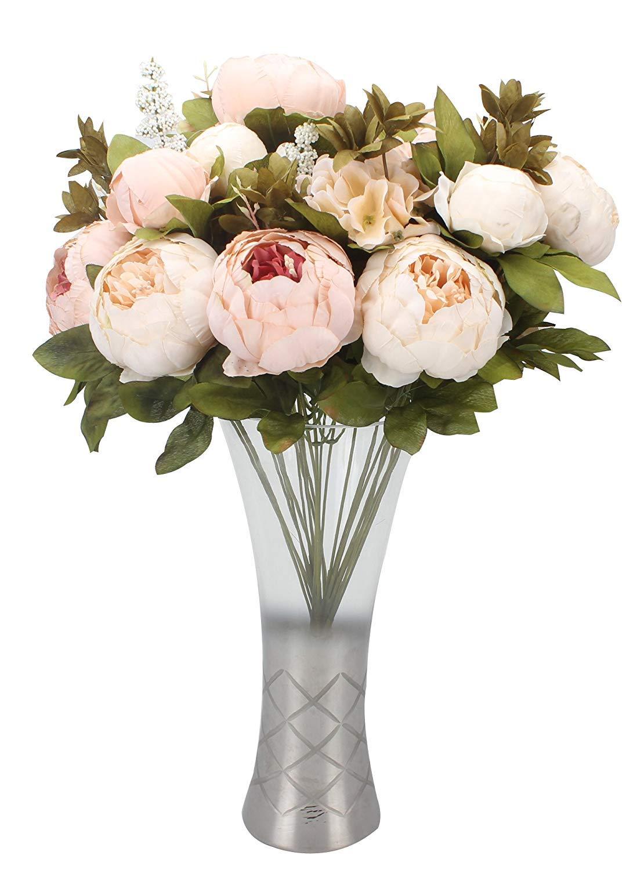 Champagne Bouquet de fleurs artificielles en soie Pivoine D/écoration de maison//mariage