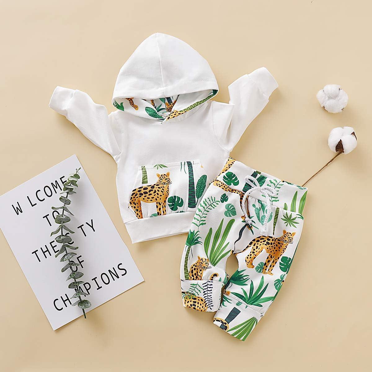 DaMohony 2 pcs Traje de Ropa de beb/é reci/én Nacido Sudadera con Capucha Pantalones Largos Estampados Animados conjuintos de Ropa de Primavera para beb/és ni/ños