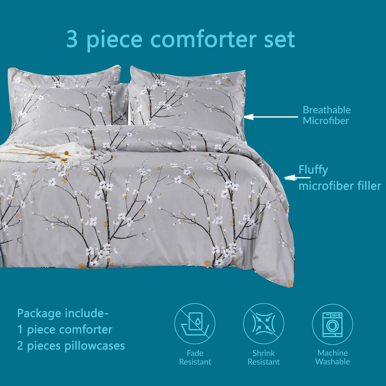 SexyTown Lightweight Black Floral Comforter Set Queen Ultra Soft Bedding for Girls//Women Reversible Flower Printed Colorful Comforter Machine Washable