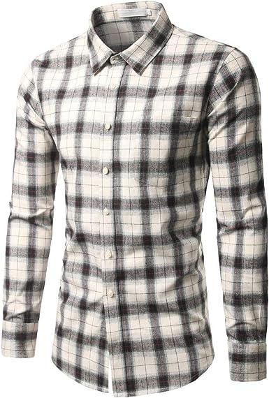 Sencillo Vida Hombre Camisas Slim Fit Manga Larga Cuadros Casual Camisa de Hombre de Vestir Camisa Hombres Clásico Cuello de Solapa con Botones Camiseta Básica para Hombre Shirts: Amazon.es: Ropa y accesorios
