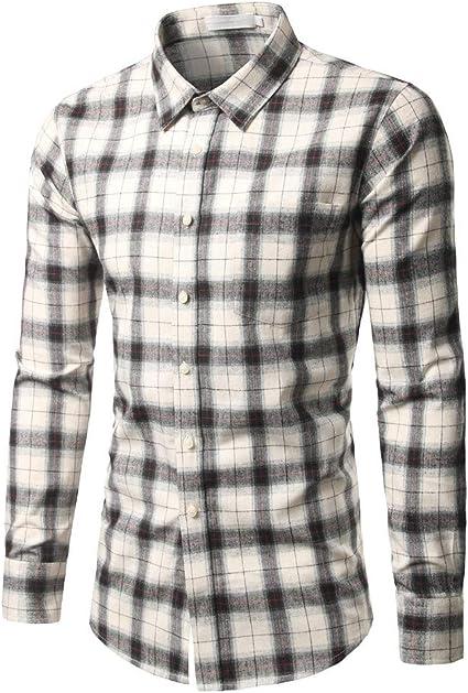 Internet-Camisa a Cuadros Delgada Casual de los Hombres(Negro/Azul/Blanco XS-L): Amazon.es: Ropa y accesorios