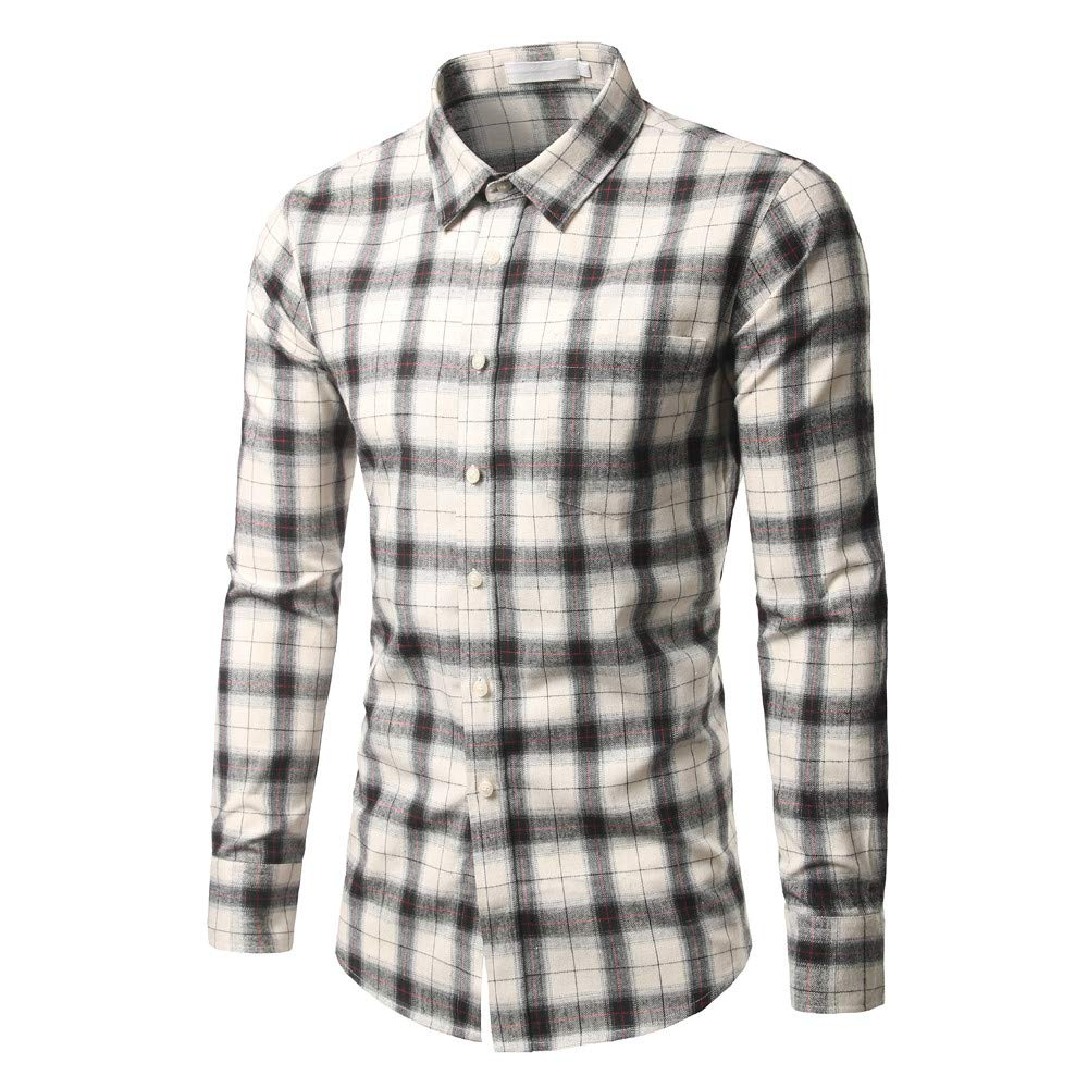 GREFER Men's New Casual and Self-Cultivating Checked Shirt Long Sleeved Checked Shirt Tops Blouse White by GREFER