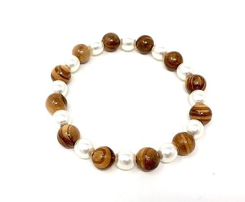 cd0f78a94874 bagusto Pulsera hecha de cuentas de madera de olivo (8 mm) y perlas ...