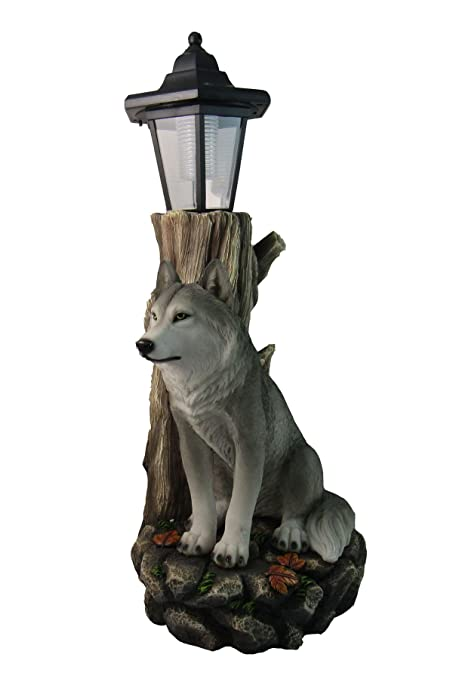 Spirit Wolf Outdoor Solar Lantern Statue By DWK   Lawn Garden Porch Or  Patio Wildlife Statue
