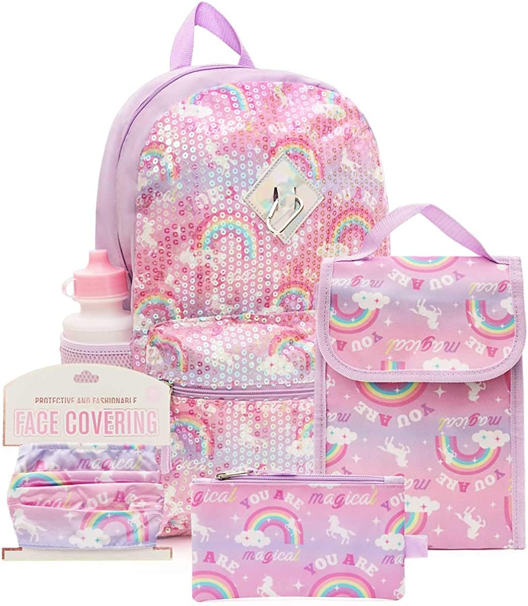 6 Pc. Sequin Girls Backpack Set, 16 inch, w/Washable Cloth Kids Face Mask, Lunch Bag, & Pencil Case (Rainbow Unicorn)