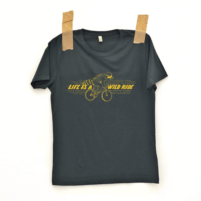 Dunkelgraues Fahrrad Bio T-Shirt'Wild'