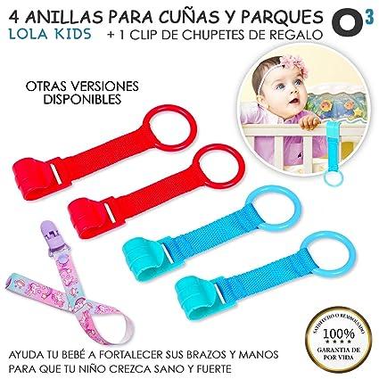 O³ Anillas Para Cunas Y Parques 4 Unidades + 1 Cadena Chupetes Lola Kids – 3 Versiones – Agarraderas Para Parques Bebes – Ayuda a Bebé a Ponerse de ...