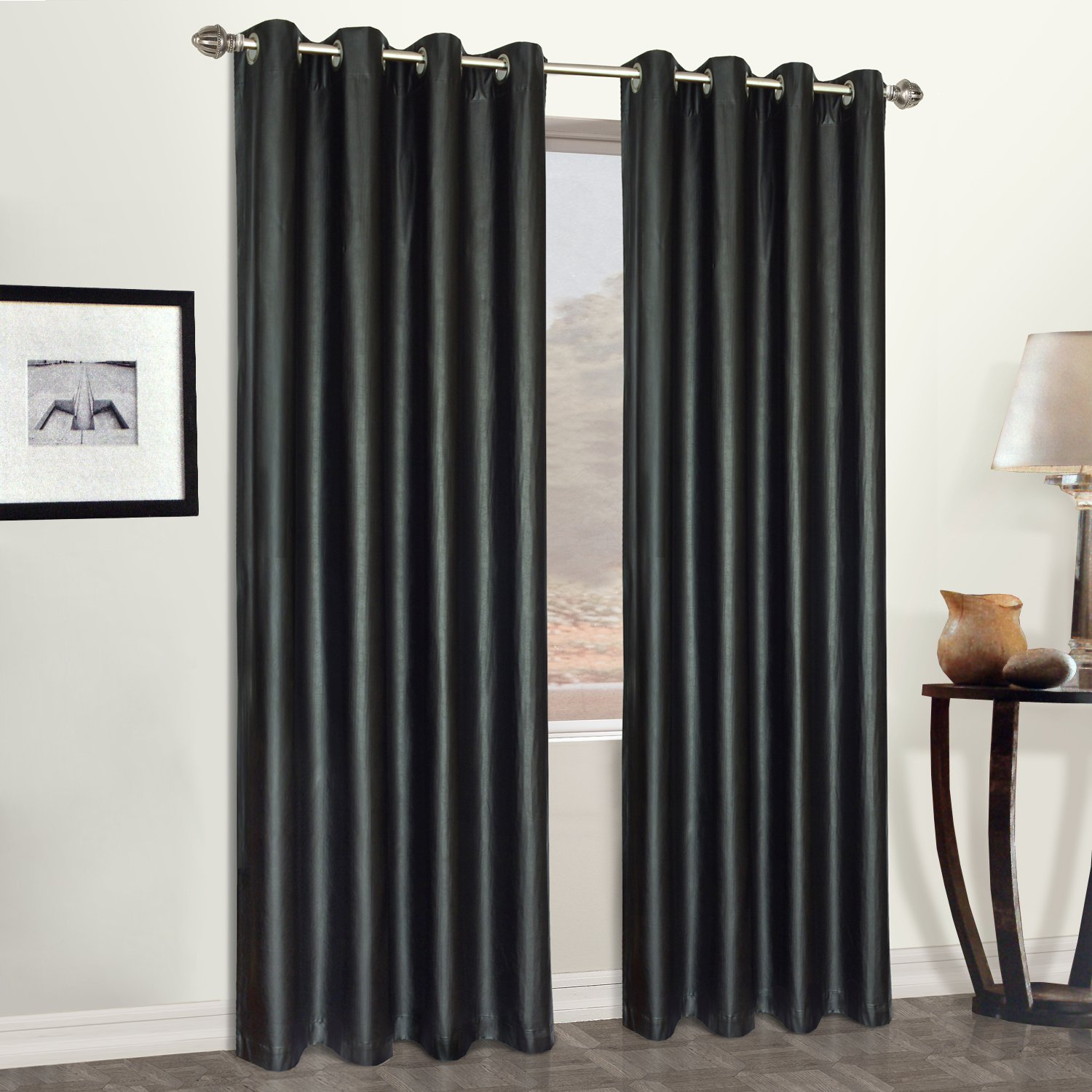 living luxe inches with grommet traditional grey panels basics linen better decorating treatments window central curtain drapes grommets x park grand room homes top panel gardens