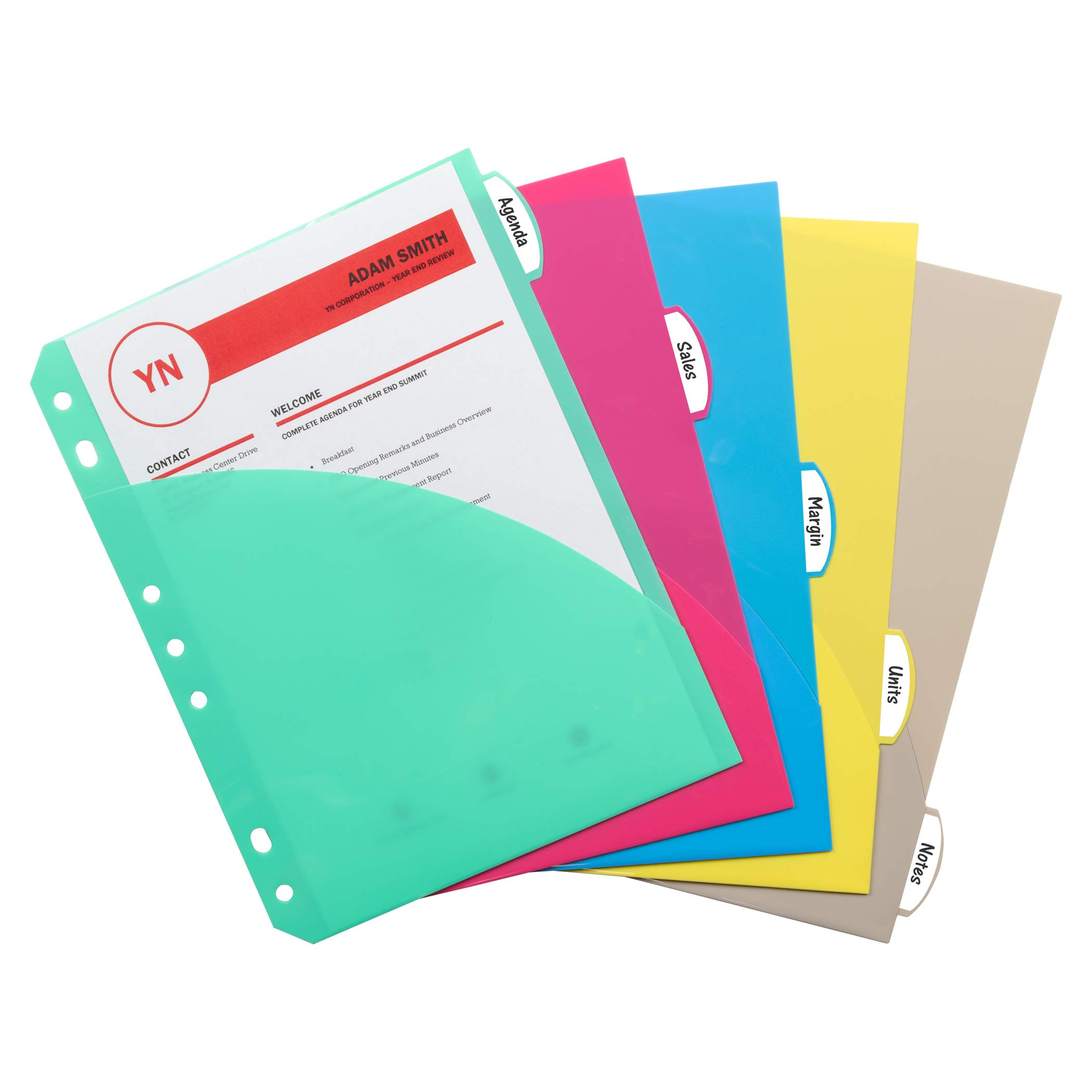 C-Line Products, Inc. CLI03750BN Mini Size 5-Tab Poly Index Dividers, Blue/Clear/Pink/Smoke/Aqua with Slant Pockets, 12 Sets