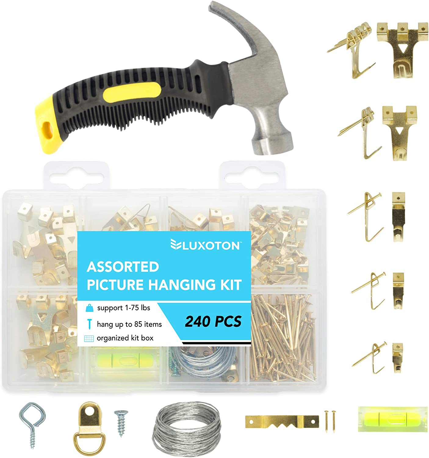 Picture Hanging Kit 241 Pieces - Assorted Picture Hangers Hooks Nails Wire Screw Eyes D Ring Sawtooth Photo Frame Hanging Hardware Heavy Duty Accessories and Stubby Claw Hammer
