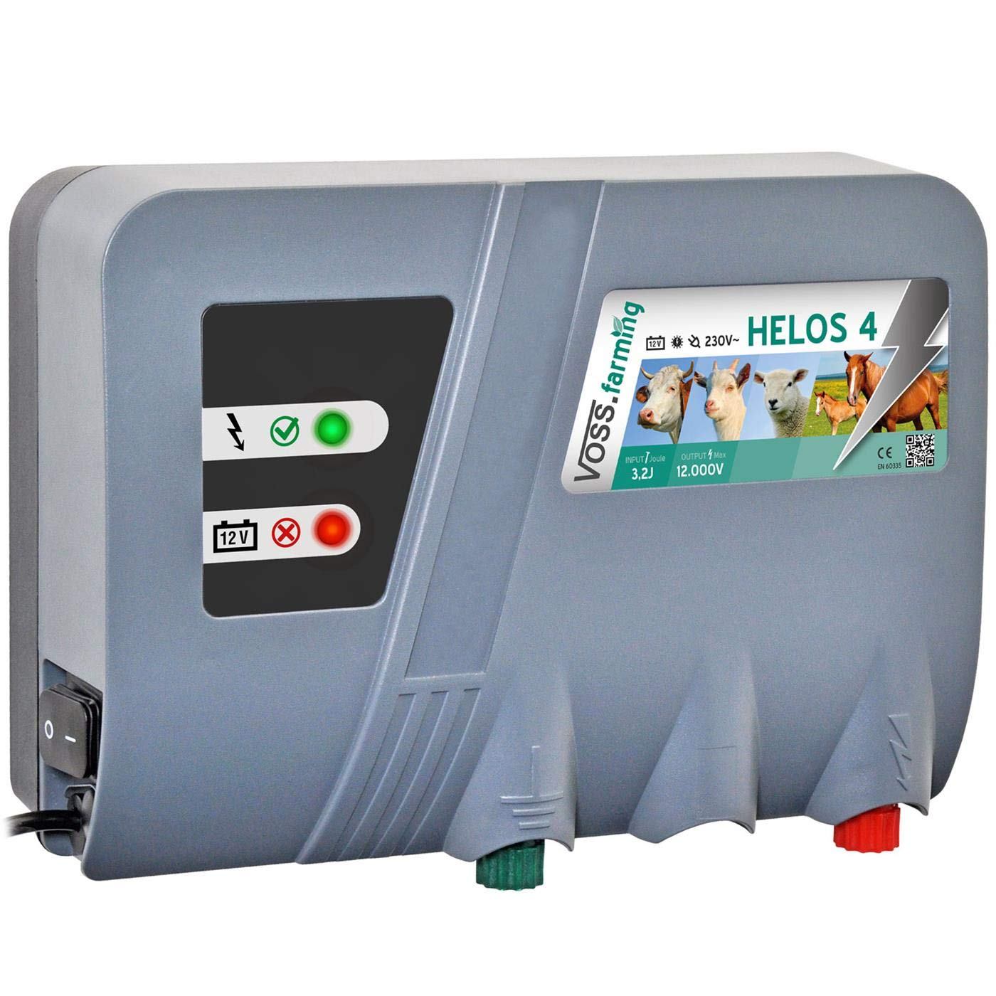 VOSS.farming Electric Fence Energiser Helos 4   12 V Battery Mains   Dual-Power Fencer   3.2 J   9600 V   Mains Adapter Not Included