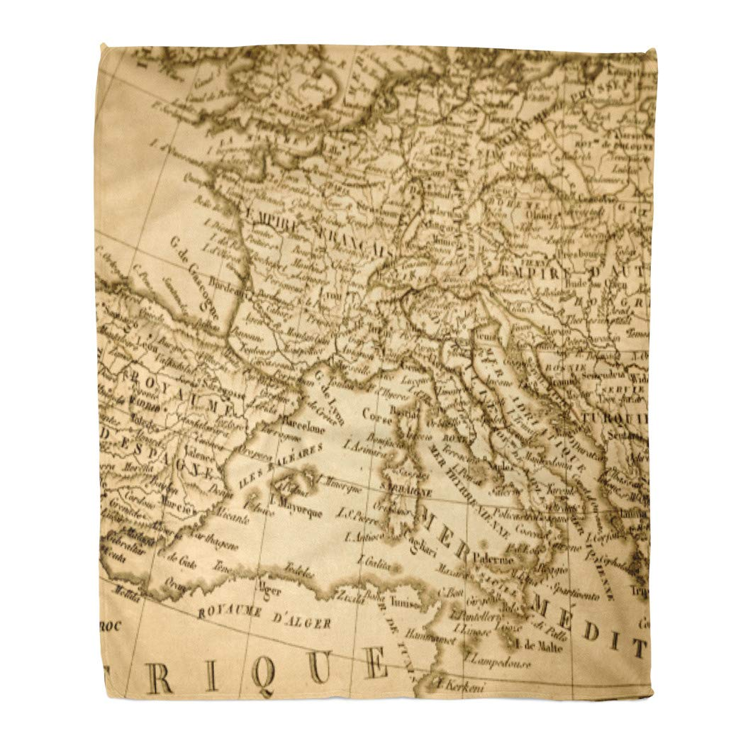 Amazon.com: Emvency Flannel Throw Blanket 1831 Old Map of ...