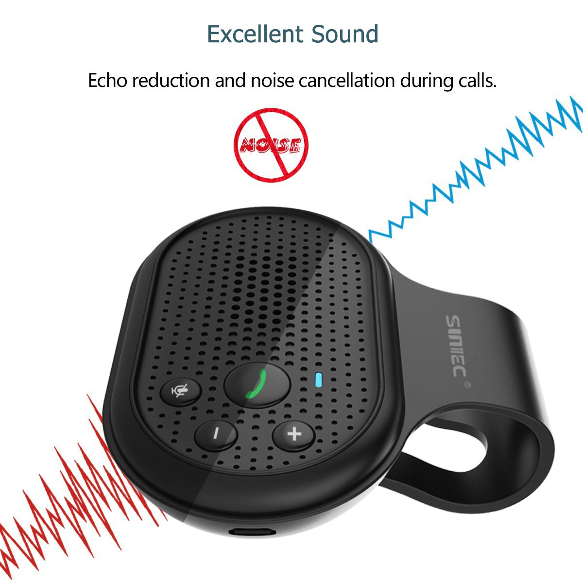 Bluetooth Hands Free Car Speakerphone, SUNITEC Bluetooth Visor Car Kit In-Car Phone Speaker AUTO POWER ON Support GPS, Music and HandsFree Calling for iphone, Samsung and Smartphones [2 Year Warranty] by Sunitec (Image #7)