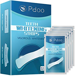 Pdoo Teeth Whitening Strips with 56 Strips Remove Years of Stains -Best 3D Dental Whitestrips Whitening Gel Strips -Painless,No Sensitivity,Travel Friendly Tooth Whitener Products