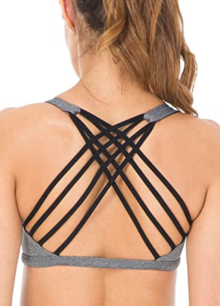 c93543a46b2f57 Queenie Ke Womens Yoga Sport Bra Light Support Strappy Free to Be Bra Size  XS Color
