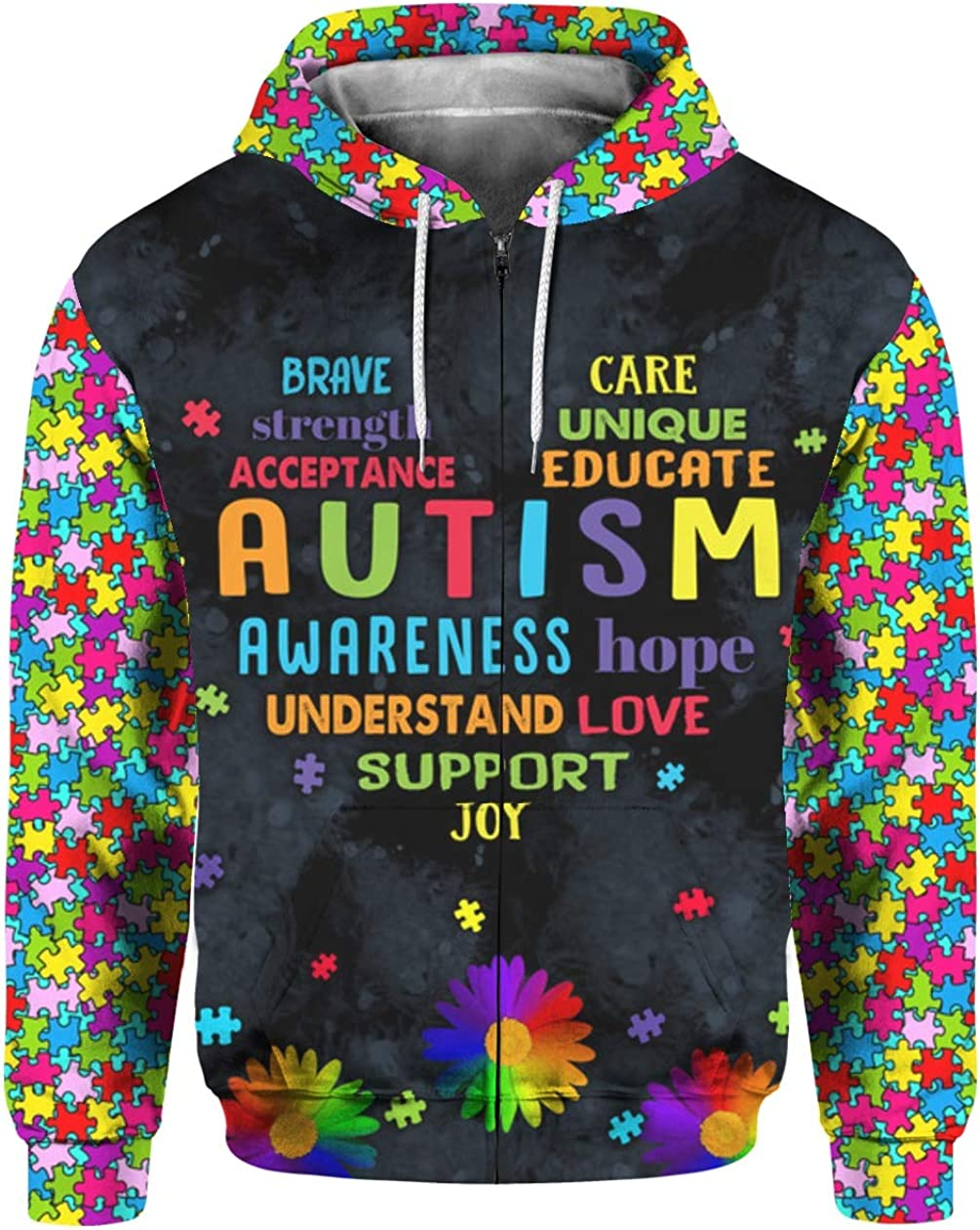 Download Autism Heart Love Saying 3D All Over Sublimation Printing ...