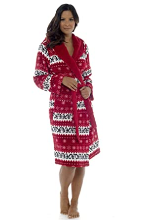 Keanu Ladies Fairisle Penguin Print Hooded Soft Fleece Long Gown Sherpa  Lining Robe Size 8-22  Amazon.co.uk  Clothing 6391aeb9a