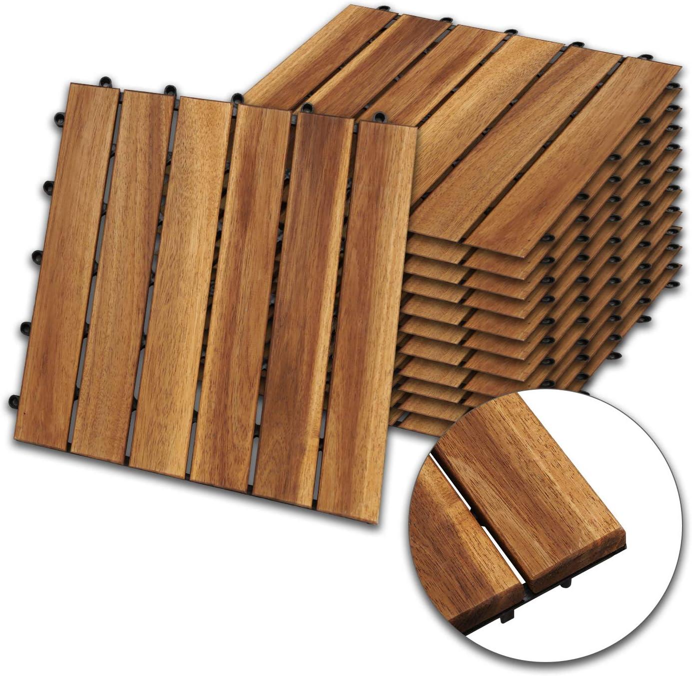 Akazien-Holz Holzfliesen mit Drainage, Klick-Fliesen für Balkon