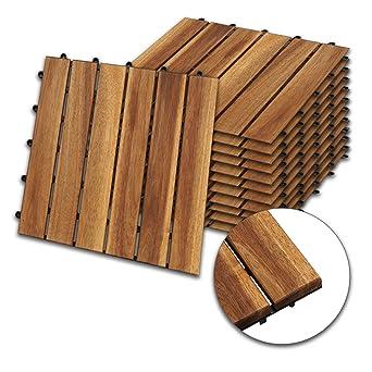 Turbo wolketon 30 x 30 cm Akazien-Holz Holzfliesen 11er Set für 1 m² DZ07