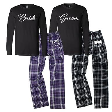 2a20b5d6ab Bride and Groom Pajamas Set - Black & Purple at Amazon Women's ...