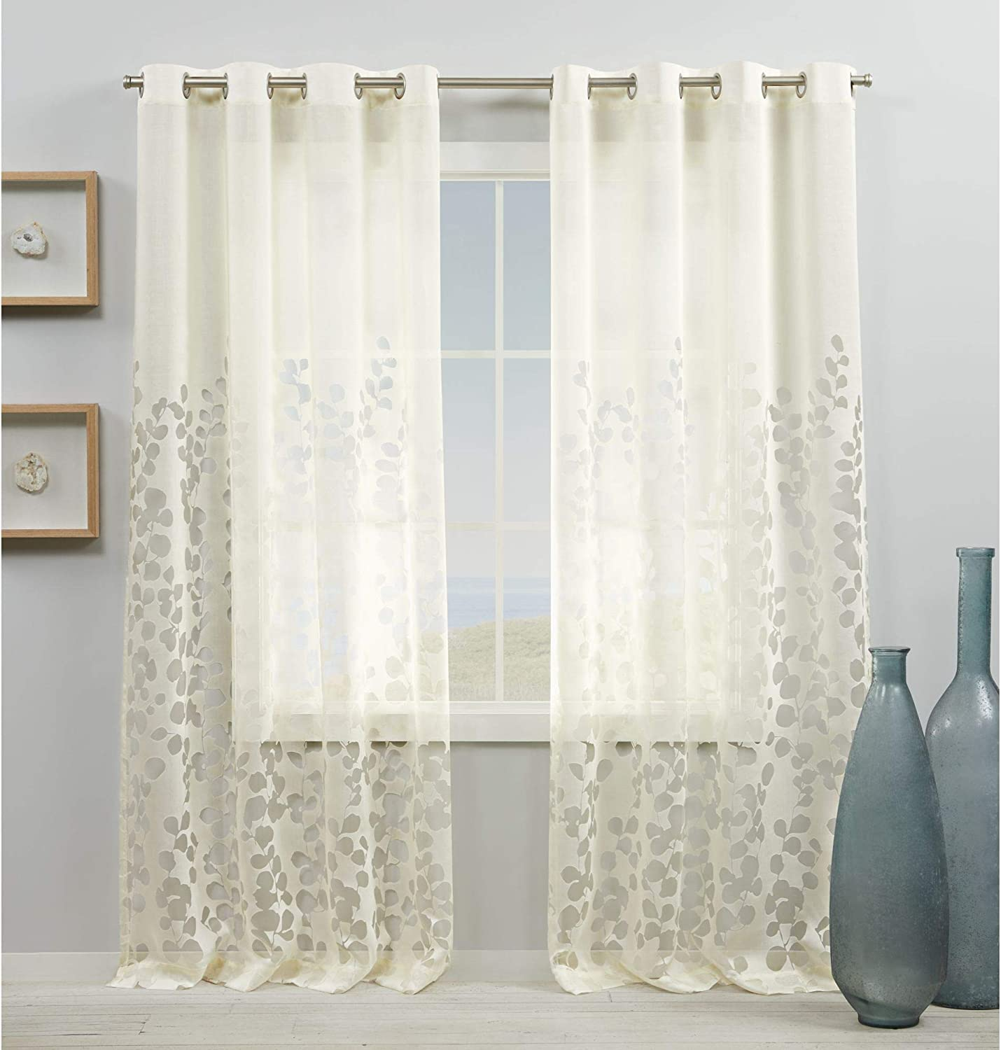 Exclusive Home Curtains Wilshire Burnout Sheer Grommet Top Curtain Panel Pair, 54x84, Ivory