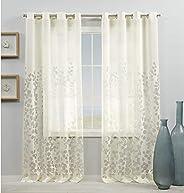 Exclusive Home Curtains Wilshire Burnout Sheer Grommet Top Curtain Panels, 54